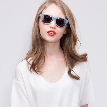 Matte Blue Hanoi -  Acetate Sunglasses - model image