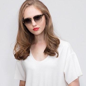 Green Striped  Simone -  Acetate Sunglasses - model image
