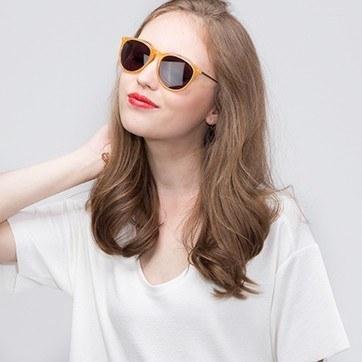 Orange  Interlude -  Acetate Sunglasses - model image