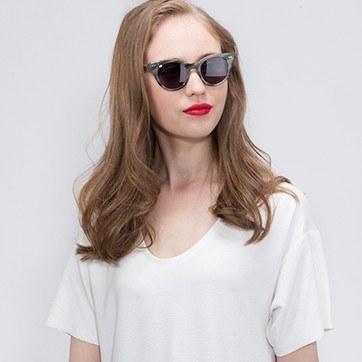 Gray Striped Divine -  Acetate Sunglasses - model image