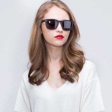 Matte Black Nevada -  Acetate Sunglasses - model image