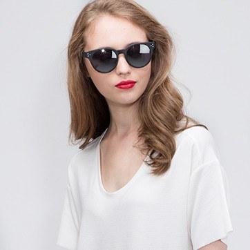 Matte Black Minuit -  Acetate Sunglasses - model image