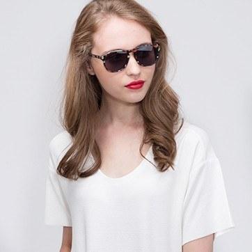 Floral Silt -  Acetate Sunglasses - model image