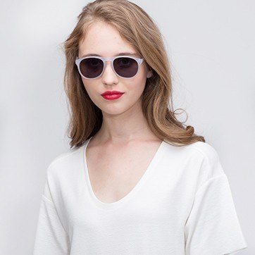 Matte Clear Silt -  Acetate Sunglasses - model image
