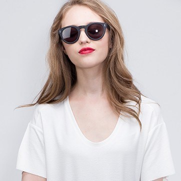 Matte Black Ibiza -  Acetate Sunglasses - model image