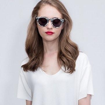 White Black Ibiza -  Acetate Sunglasses - model image