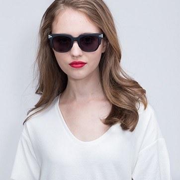 Matte Black  Bella Donna -  Acetate Sunglasses - model image