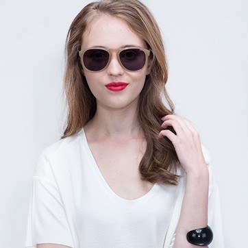 Beige Phased -  Acetate Sunglasses - model image