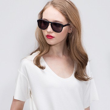 Matte Black Phased -  Acetate Sunglasses - model image