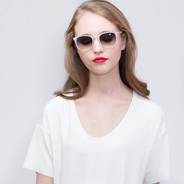 Matte Clear Audio -  Acetate Sunglasses - model image