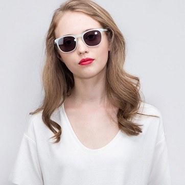 Light Green Audio -  Acetate Sunglasses - model image