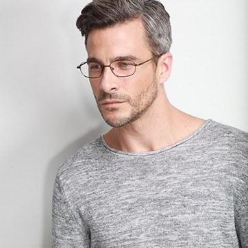 Coffee  Setup -  Lightweight Titanium Eyeglasses - model image